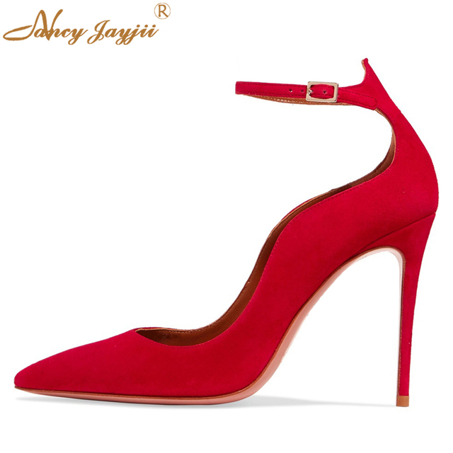 13cb4f7da5c Handmade Womens Red Suede Ankle Strap Shoes High Heeled Pumps Pointy Toe  Dress Causl Autumn Shoes For Chaussures femme Size 4-16