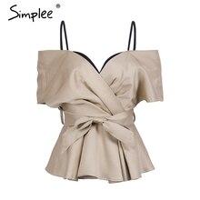 Simplee Backless v neck blouse shirt women tops Satin sash bow shirt blouse chemise Christmas elegant zipper sexy blusas female
