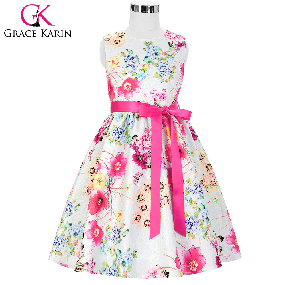 Grace Karin Floral Print   Flower     Girl     Dresses   2018 New Arrival Sleeveless Children Prom Gown Kid Baby Pageant   Dress   for Wedding