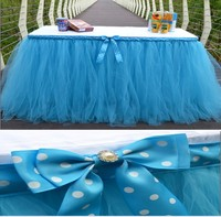 2016 nouveau belle Tulle Tutu Jupe De Table Enfants bébé douche fête d'anniversaire de mariage décor polka dot rose jaune bleu violet vert