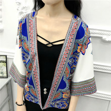2017 Summer Women Cardigans Vintage Ethnic Style Casual Female Blouses Shirts Flare Sleeve Women Sun Protection Kimono Tops X195