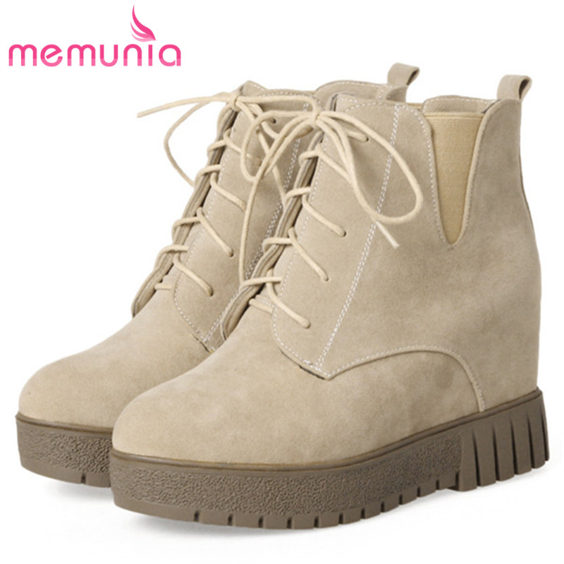 MEMUNIA Height increasing shoes woman lace-up ankle boots for women flock platform boots fashion shoes large size 34-44 lin king new women slimming swing shoes height increasing ankle boots lace up elevator shoes outdoor travel muffins single shoes