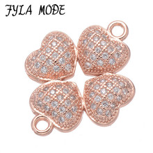 Fashion Copper 4 Hearts Charms Pendants Micro Pave Clover Zircon Connector Component For DIY Bracelet Making Bijoux Bedel CHF542