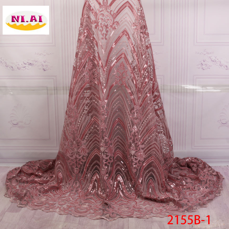2018 High Quality Nigerian Lace Fabrics Latest Mesh African Sequins Lace Fabric Bride Guipure French Net