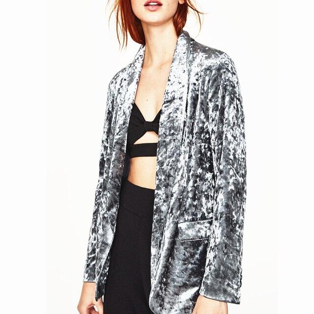 DoreenBow New Spring Autumn Women Fashion Velvet Blazer Notched Open Front Sashes Buttons Vintage Gray Blazers Jackets, 1 Piece
