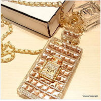 For Samsung S7 Edge Case Perfume TPU Cover Leather Metal Chain Necklace Diamond Lady Gift Fashion