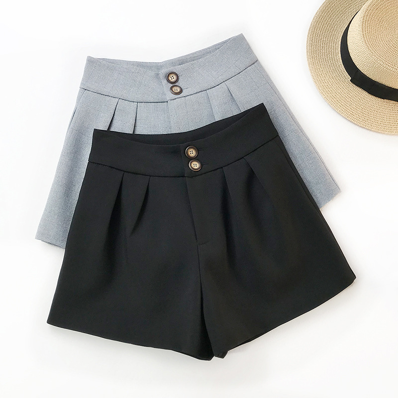 AcFirst Casual Spring Black Gray Polyester Women Shorts Women Button Fly High Waist Shorts Camel Women Short Bottom Formal Price $18.30