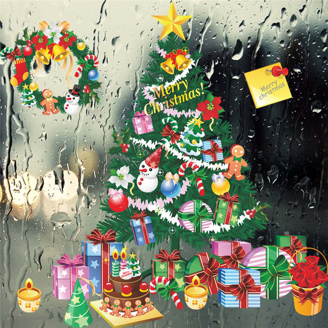Online Shop Christmas Tree Gift Wall Stickers Living Room Bedroom