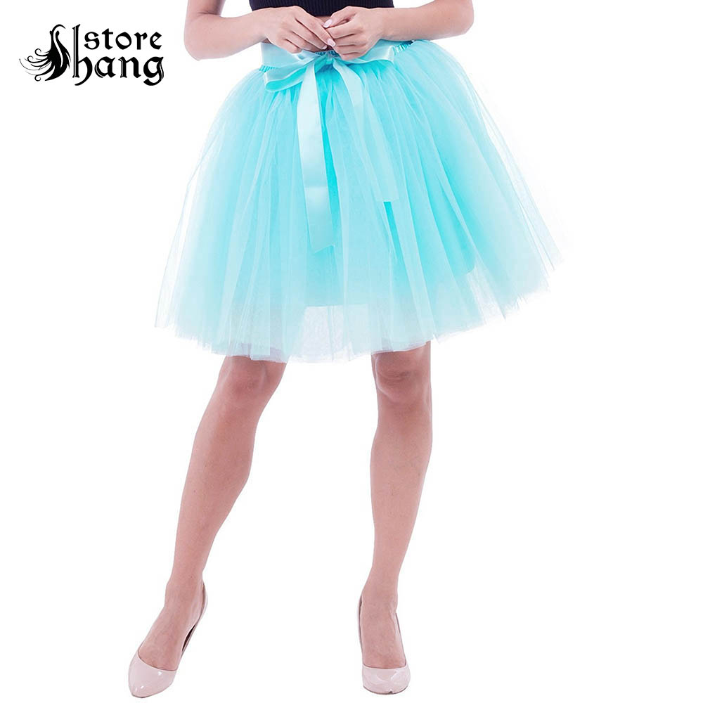 Sweet Girl Short Fluffy Tutu Skirt Petticoat Women's High Waist A Line 7 Layers Tulle Underskirt 50cm Above Knee Skirt with Belt