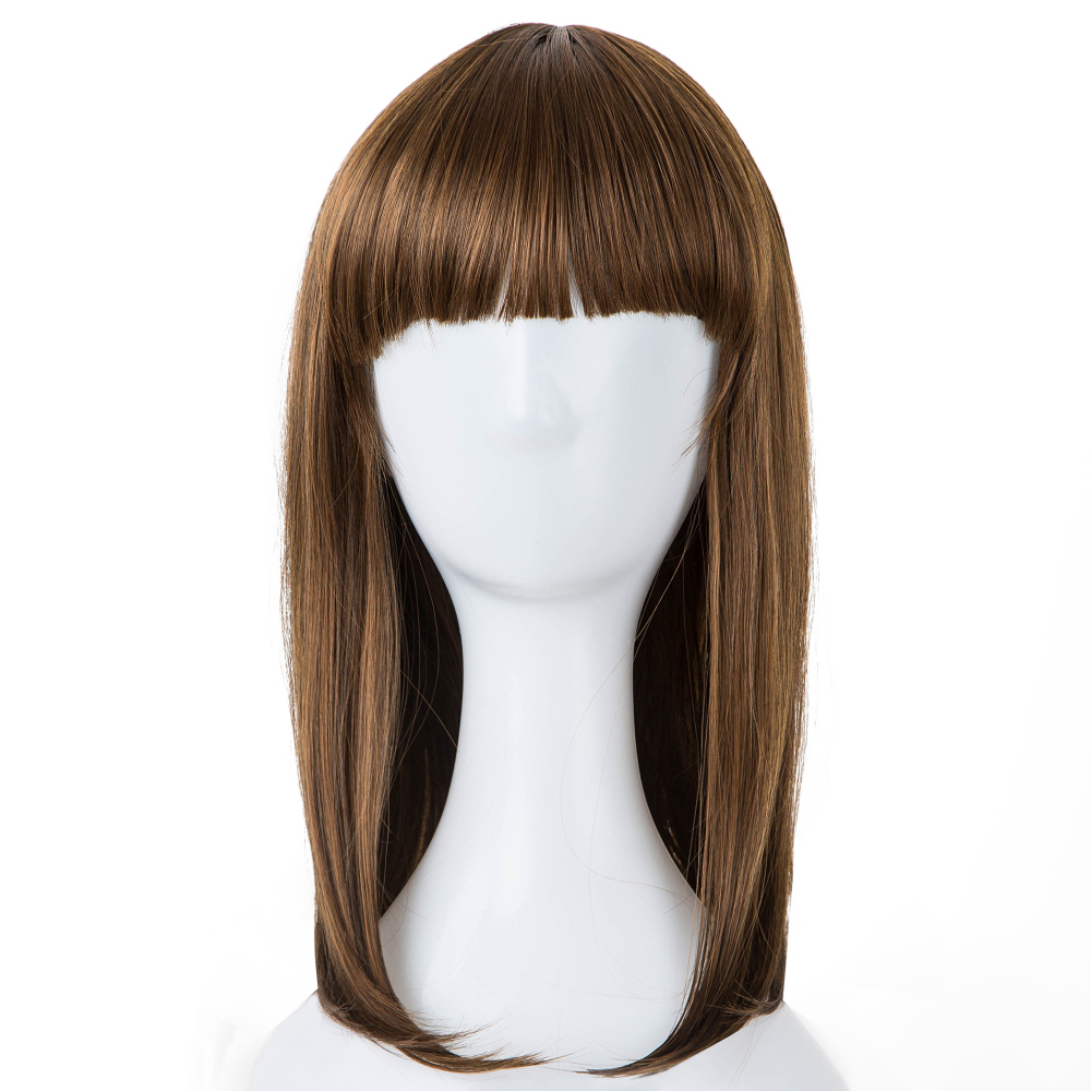 Synthetic Wigs Fei-show Inclined Bangs Hair Synthetic Heat Resistance Fiber Dark Brown Short Curly Children Wigs For 50cm Head Circumference Latest Technology