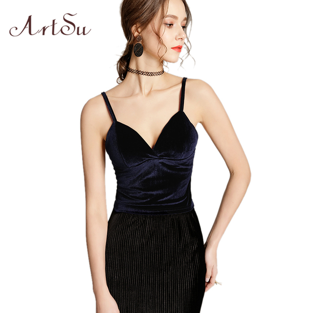92feeec03d5ee0 ArtSu Fashion Backless Sexy Velour Tank Top Women Summer Off Shoulder V  neck Fitness Clothing Black Camis Tops Mujer ASVE20214