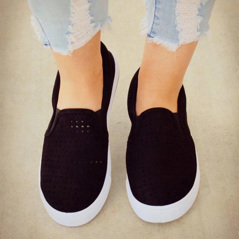 Лучший!  Adisputent Женщины Vulcanized Обувь Лето Скольжения На Неглубокие Повседневные Кроссовки Мокасины