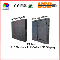 96*96 pixels 960*960mm Waterproof cabinet RGB DIP Full color P10 LED display screen Waterproof outdoor large screen