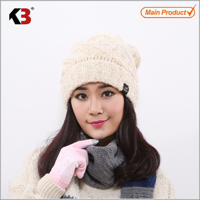 Women Cable Knit Pom Pom Bobble Beanie Hat Fashion Ball Top Winter Knit Hat