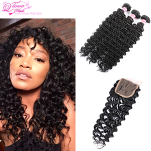 Ms Lula Deep Wave Hair With Closure And Bundles 3 Bundles Deep Wave With Closure Peruvian Wet And Wavy With Closure