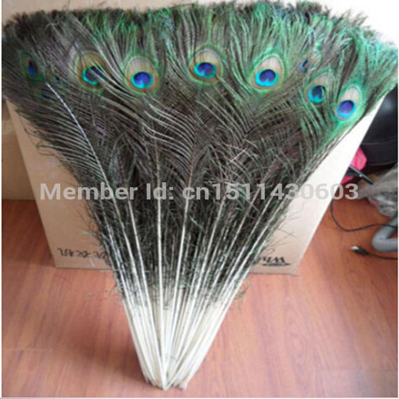 50 PCS belles plumes de paon naturelles yeux 80-90 CM