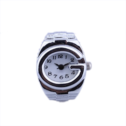 YCYS-Women Silver Alloy Quartz Arabic Number Dial Pocket Finger Ring Watch
