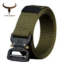 COWATHER 110 130 150 170cm long big size new nylon material mens belt military outdoor male jeans tactical