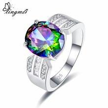 Lingmei Прямая поставка модное шикарное овальное кольцо с многослойным