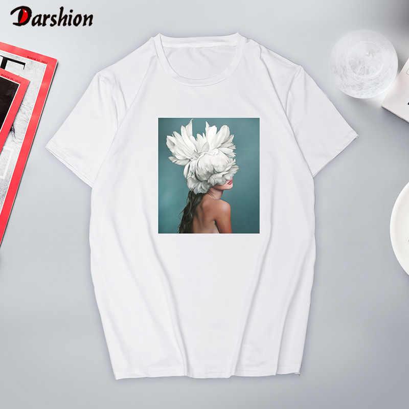 Новая эстетическая футболка, женские сексуальные топы с цветочным принтом и коротким рукавом и футболки, черная и белая модная повседневная женская футболка