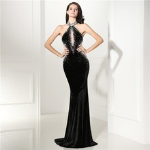 Sexy Halter Neck Black Mermaid Prom Dress Velvet Unique
