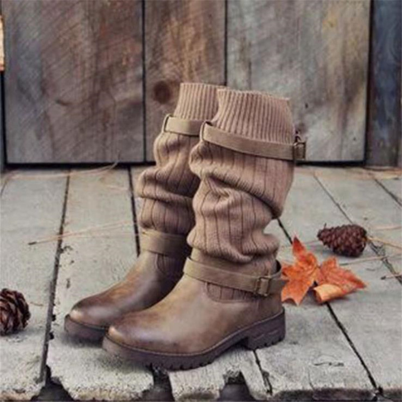 Top.Damet Women Sock Boots Fashion Block Heel Slip On Round Toe Plus Size Short Boots Winter Warm Knitted Stretch Boots FemaleTop.Damet Women Sock Boots Fashion Block Heel Slip On Round Toe Plus Size Short Boots Winter Warm Knitted Stretch Boots Female
