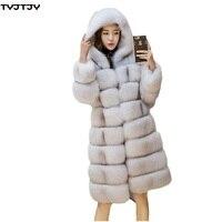 Модные зимние женские пальто 2018 новое зимнее пальто женские новые замшевые воды меха лисы пальто с искусственным мехом в синюю полоску женс