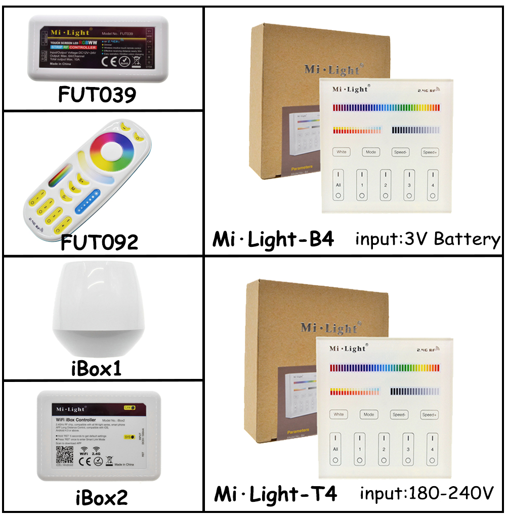 Mi Light Full Color LED Controller RF 2 4G / Wifi Remote Control DC12-24V  for RGB+CW+WW LED Strip