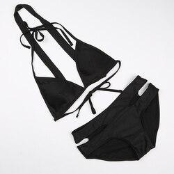 Manoswe, комплект бикини с высокой талией, купальник для женщин, купальник бикини, пуш-ап, открытая спина, бандаж, бикини, 2019, пляжный купальник с ... 2