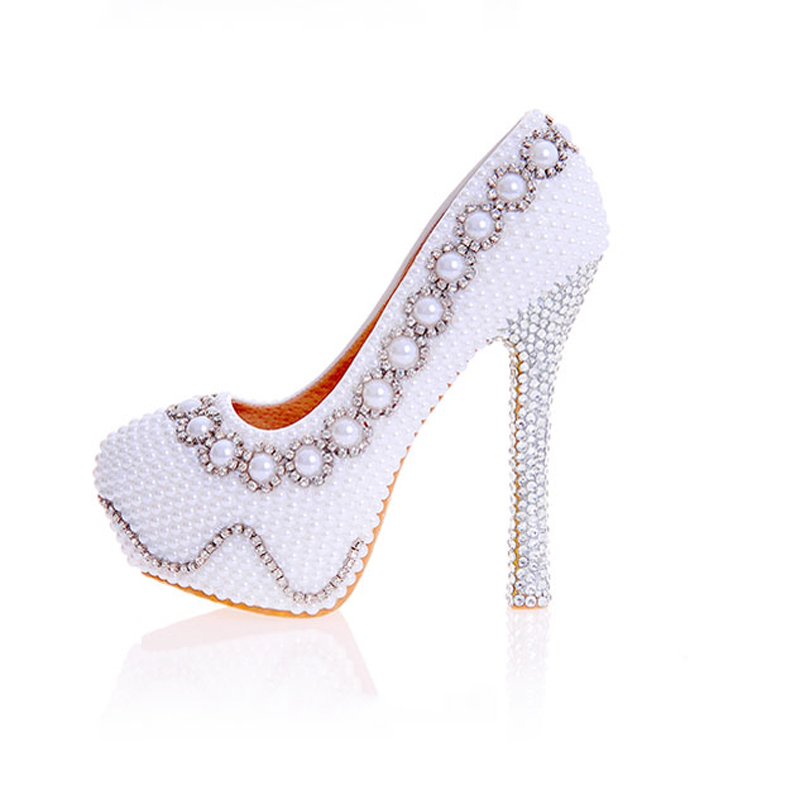 Womens Wedding Pearl Shoes Crystal Decor Pumps Round Toe Sexy Bride High Heels Female Rhinestone White Lady Party Slip On Shoes women wedding silver shoes crystal sequins decor pumps lace slip on bridal super high heel round toe sexy ladies party shoes