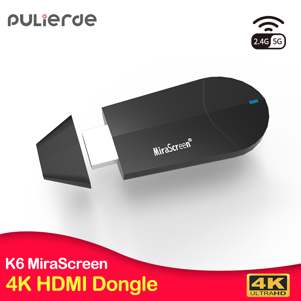 PULIERDE K6 HDMI Dongle 5g MiraScreen 4 k Sans Fil WiFi Affichage Récepteur 1080 p HD TV Bâton Miracast Airplay miroir