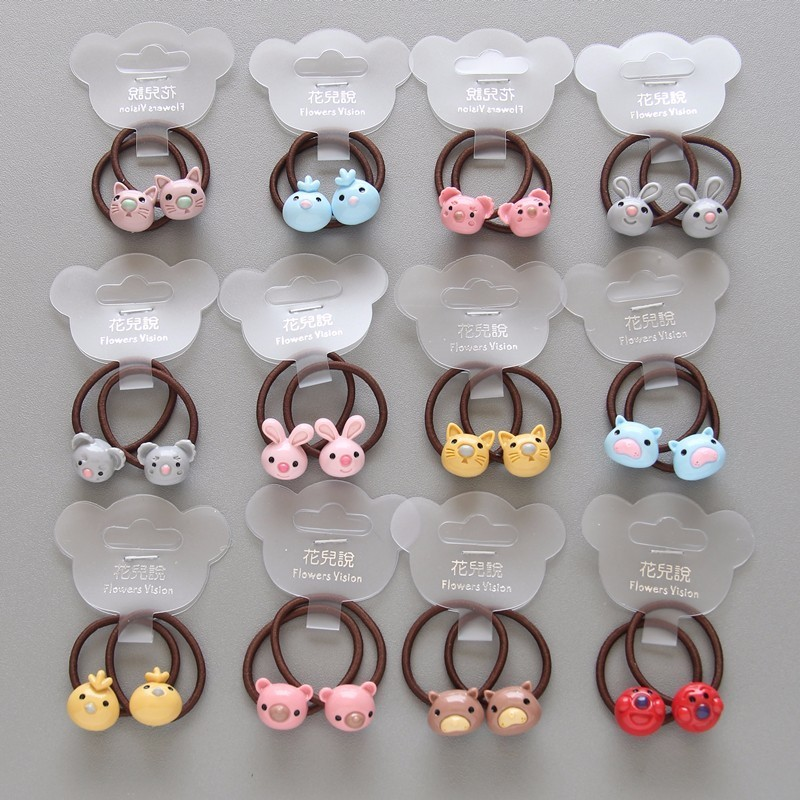2PCS New Cute Rabbit Princess   Headwear   Kids Elastic Hair Bands Baby Headdress Children Hair Ropes Girls Hair Accessories