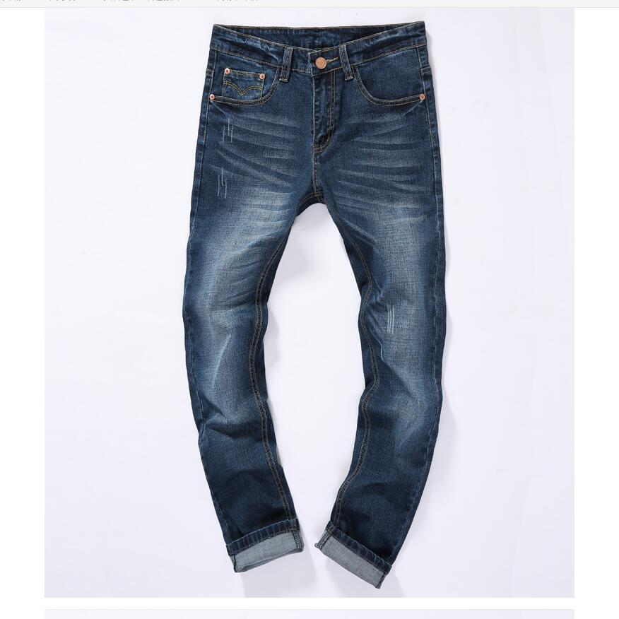 Good quality Men Cotton Straight Jeans New Male Classic Style Full Length Jeans Navy blue Denim Pants Jeans Size 38 men s cowboy jeans fashion blue jeans pant men plus sizes regular slim fit denim jean pants male high quality brand jeans