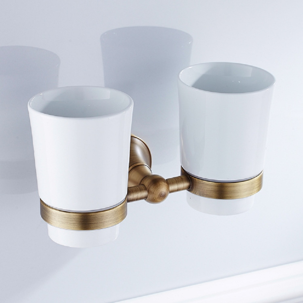 AUSWIND Vintage Brass Bronze Brushed Toothbrush Holder Cup Double Ceramic Cup Holder Wall Mounted GF6 image