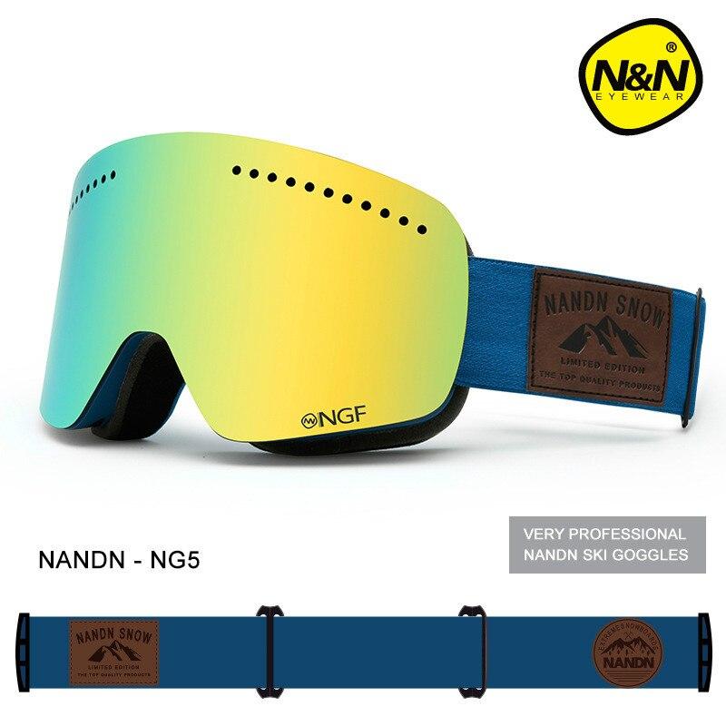 NANDN Unisexe Ski Lunettes Double UV Anti-brouillard Big Ski Masque Lunettes Femmes Hommes Ski Neige Snowboard Lunettes Multifonction lunettes - 4
