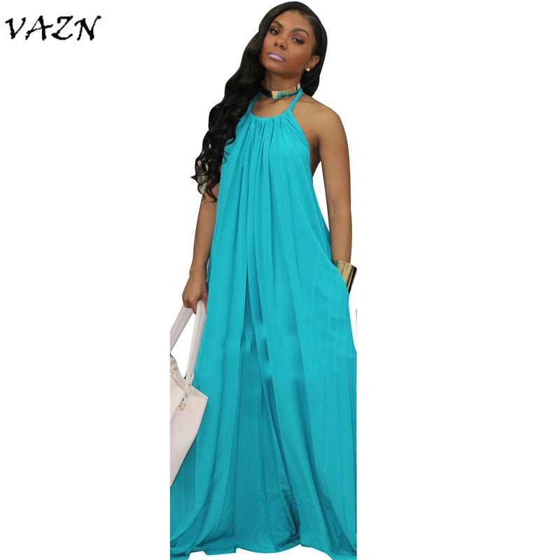 VAZN 2018 New Style Brand Fashion Casual Style Women Dress Solid Halter Sleeveless Backless Loose Maxi Dress Vestido SMR8964