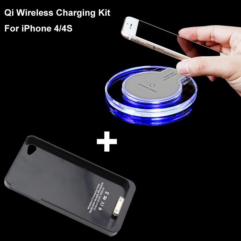 imágenes para Qi inalámbrica cargador + panel de carga del cargador de caso para iphone 4 4s alta calidad kit negro/blanco receptor
