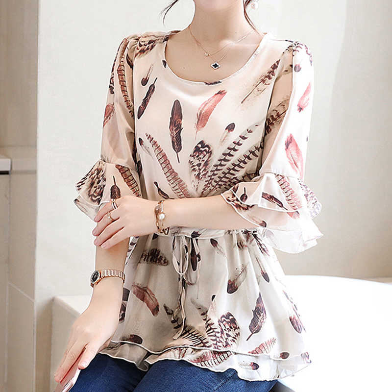 Womens Tops And   Blouses   Ruffle Chiffon   Blouse   Women 2019 Fashion flower Print Summer   Blouses     Shirts   Floral Blusa Feminina 932A