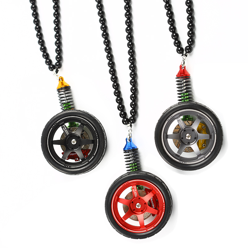 DIY Car Auto Enthusiasts Parts Rear View Mirrow Pendent Keychain Set(Te37 wheel rim+Brake Disc+Shock Absorber+Beads+Rubber Tire)