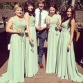 Simple Design Long Chiffon Olive Green Bridesmaid Dresses V Neck Floor Length Party Dress Wedding