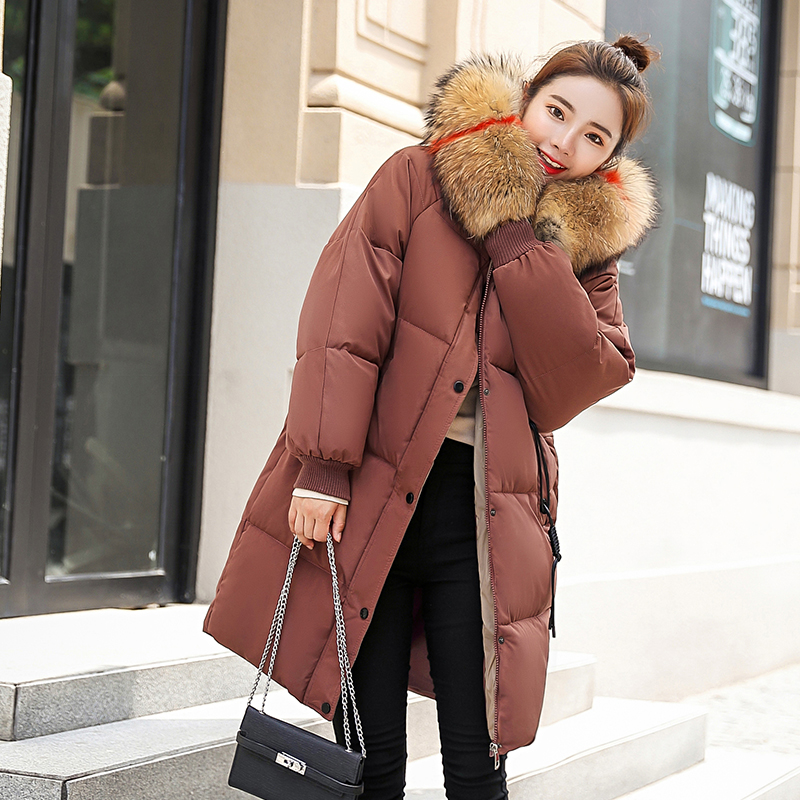 Winter Female Long Jacket 2018 Winter Coat Women Fake Fur Collar Warm Woman   Parka   Outerwear Down Jacket Winter Jacket Women Coat