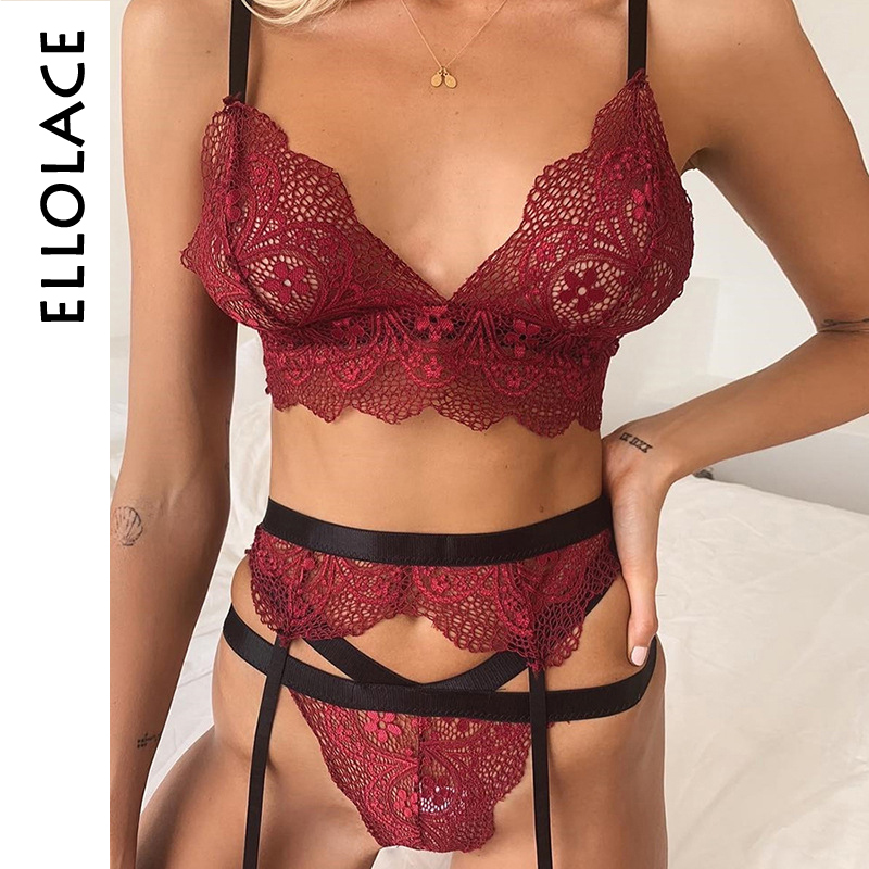 Ellolace Sexy Lingerie Women Set Mesh Transparent Red Bandage 2 Piece Set Deep V Open Bra Patchwork 2019 New Female Sexy Sets