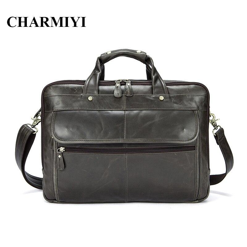 CHARMIYI New Genuine Leather Men Crossbody Bags Business Laptop Briefcase Men Messenger Bag Fashion Shoulder Bag Man Travel Bag