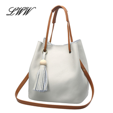 Fashionable Composite Bag Solid Casual Genuine Leather Handbag Bucket Women Shoulder Bags with Tassel