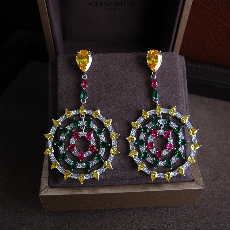 Fashion AAA cubic zirconia colorful stones womens drop earrings party accessaries,Q0016