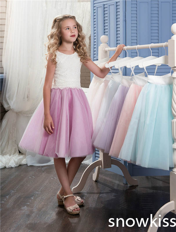 2018 white and purple tulle a-line knee-length flower girl dresses for wedding open back junior pageant prom dresses коляска esspero summer line light purple sl010a 108068275