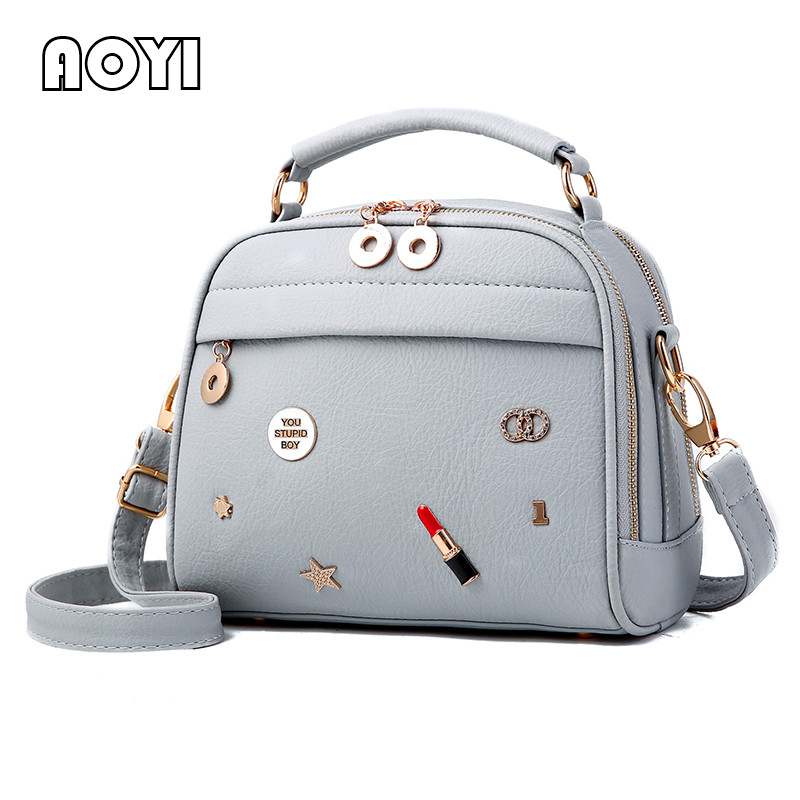 AOYI PU Leather Handbag Fashion Women Shoulder Bag Star Lipstick Decor Crossbody Bags Stylish Girl Flap