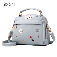 AOYI PU Leather Handbag Fashion Women Shoulder Bag Star Lipstick Decor Crossbody Bags Stylish Girl Flap Famous Female Clutch New