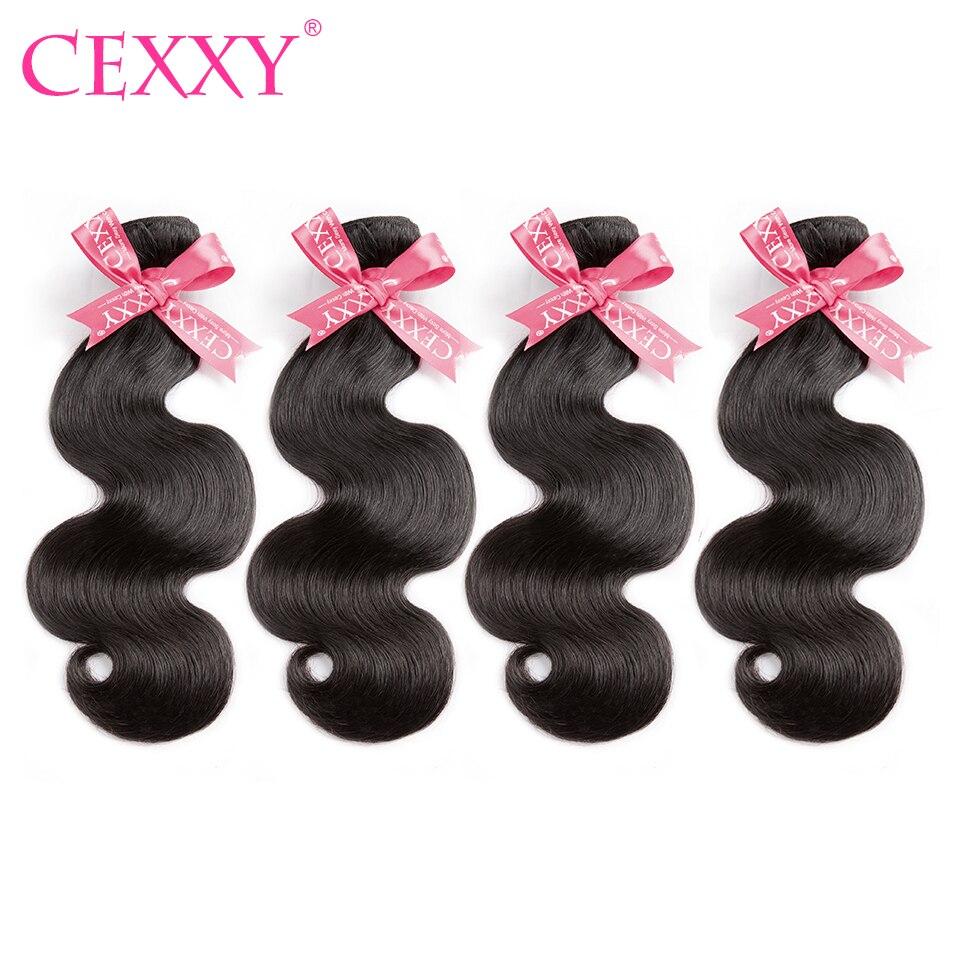 CEXXY İnsan saç paketler vücut dalga 4 demetleri/çok brezilyalı bakire saç doğal renk ücretsiz kargo