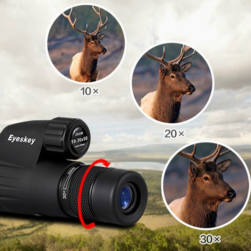10-30x50 Zoom Monocular Telescope Eyeskey Power Waterproof Binoculars Spotting Scope Tripod Hd Bird Watching Binoculo Hunting 20 60x60ae hd wide angle high power bird photography astronomical monocular binoculars telescope spotting scope